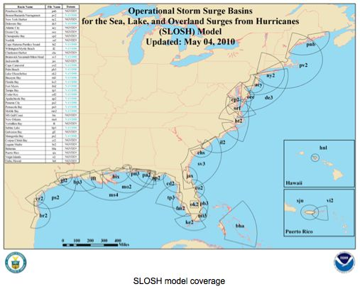 Operational Storm Surge Basins from Hurricanes SLOSH Model